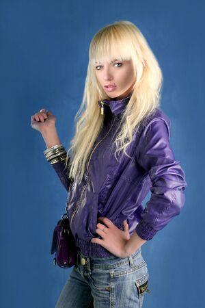 blonde fashion girl young woman purple bag  Stock Photo - 6987202
