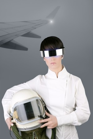 futuristic spaceship aircraft astronaut helmet woman foggy airplane wing photo