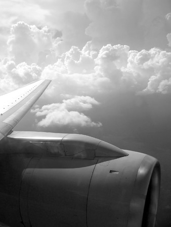airplane reactor sky view from aircraft black and white Stock Photo - 7057782