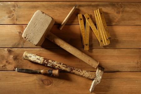 craftman: carpenter craftman hand tools saw hammer wood tape plane gouge Stock Photo