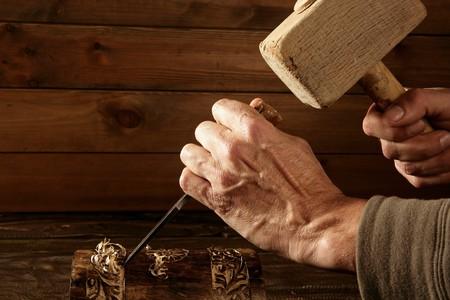 craftman: gouge wood chisel carpenter tool hand hammer craftman