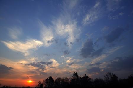 red evening: red sun sunset sunrise dramatic sky scene clouds