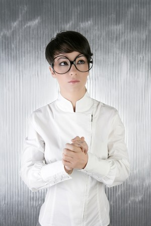 funny humor futuristic woman big glasses portrait over silver background photo