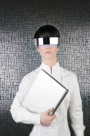 futuristic businesswoman holding laptop computer silver future glasses photo