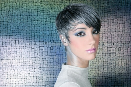 silver futuristic hairstyle makeup portrait future woman wallpaper background Stock Photo - 7057875