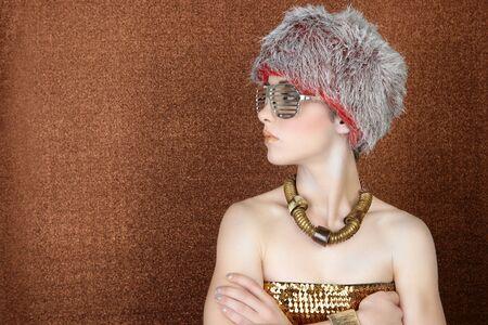 fashion futuristic woman bronze golden profile portrait silver glasses photo