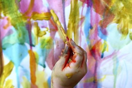 children little artist painting hand brush colorful watercolor art photo