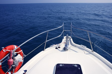 bow of boat: blue ocean sea view from motorboat yacht bow in Mediterranean Stock Photo