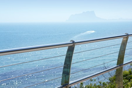 stainless: stainless steel balcony banister to mediterranean sea in moraira alicante spain