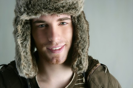 fur winter fashion hat young man brown autumn color Stock Photo - 7143058