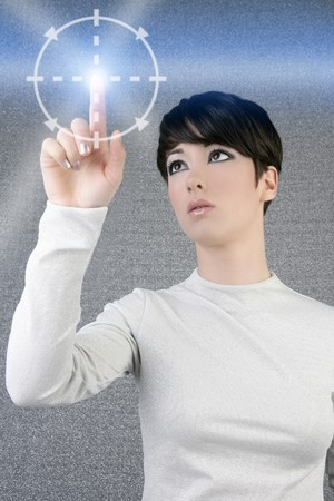 cyber girl: digital finger scan woman touch pad light futuristic businesswoman