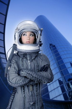 aircraft  astronaut spaceship helmet woman fashion mirror skyscraper blue buildings photo