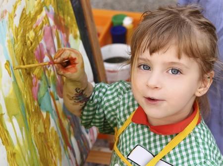 artist school little girl painting brush watercolors portrait Stock Photo - 7143030