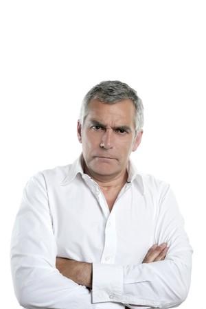 angry businessman senior gray hair seus man isolated on white Stock Photo - 7239853