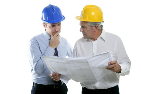 architect engineer two expertise team plan talking hardhat white background Stock Photo - 7239887