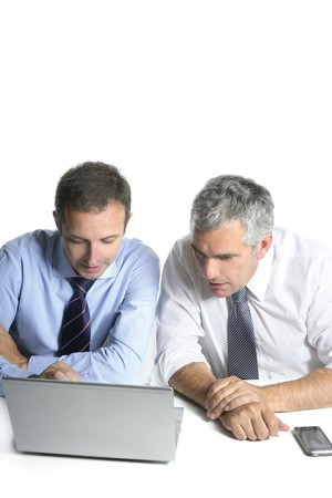 expertise businessman team working laptop computer white desk Stock Photo - 7239901