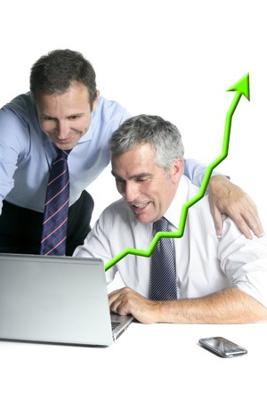 happy businessman team on computer good sales reports graph arrow chart Stock Photo - 7239968