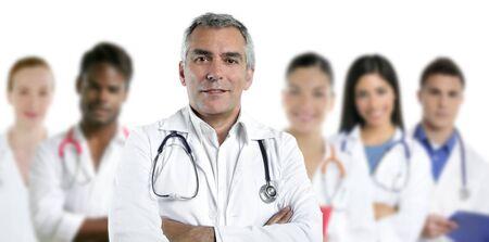 expertise gray hair doctor multiracial nurse team row over white  Stock Photo - 7239952