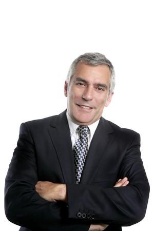 m�s viejo: feliz empresario senior sonriendo fondo negro traje blanco de cabello gris
