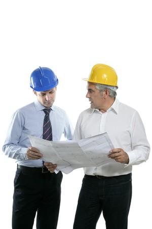 architect engineer two expertise team plan talking hardhat white background Stock Photo - 7240087