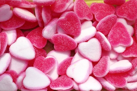 jelly sweets candy pink white heart shape valentines day metaphor  photo
