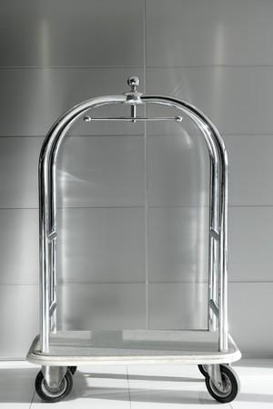 hotel luxury trolley barrow silver chrome gray background Stock Photo - 7310200