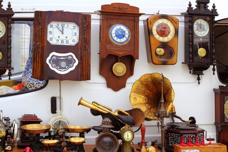 antiques fair market wall old clocks vintage stuff