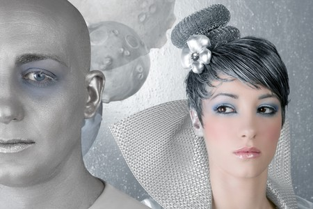 fahion makeup hairstyle woman futuristic silver male alien photo
