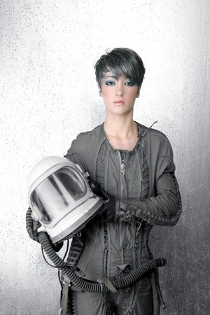 futuristic girl: fashion silver woman spaceship astronaut helmet space metaphor