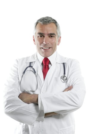 doctor senior expertise gray hair confident on white photo