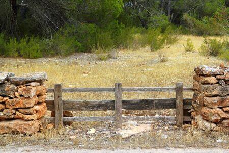 masonry stone wall wooden fence door pine forest Formentera Balearic islands Stock Photo - 7358463