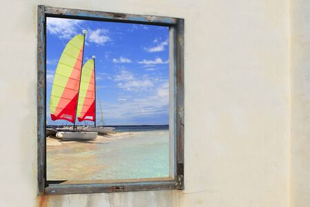 hobie: Formentera beach hobie cat Illetes view from aged vintage window