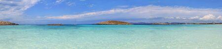 balearic: Panoramic Illetas view turquoise Mediterranean horizon Formentera Balearic islands Illetes Stock Photo