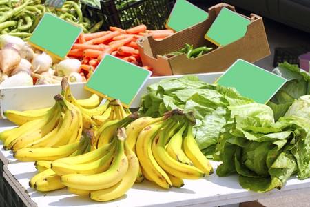 market banana pepper lettuce turnip beans vegetable stand Stock Photo - 7396390