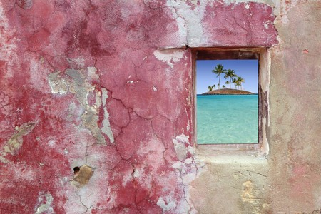 grunge pink red wall wood window topical palm trees island view photo