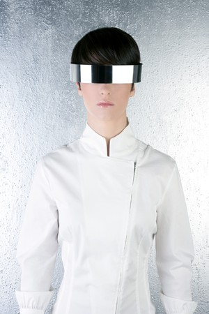 silver modern futuristic steel glasses woman future metaphor   photo