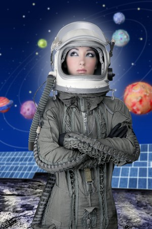 blue helmet: astronaut spaceship aircraft helmet fashion woman space planets solar plates