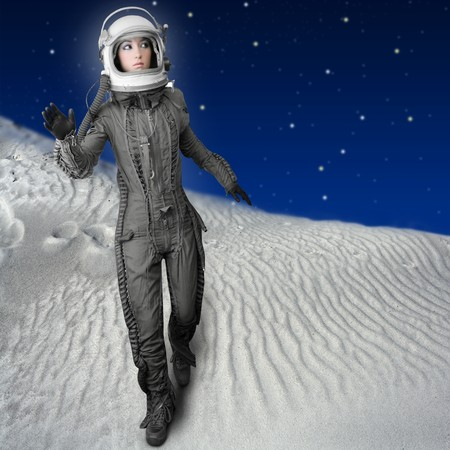 astronaut woman futuristic metaphor moon out space planets photo