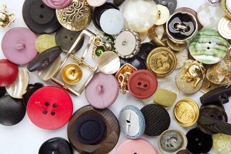 clothing buttons collection mess pattern background sewing stuff Stock Photo - 7447396