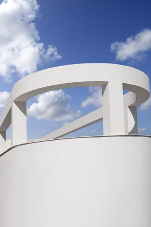 Mediterranean white round portico columns blue sky Stock Photo - 7455667