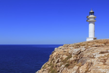 balearic: Barbaria lighthouse formentera Balearic islands blue sunny mediterranean day