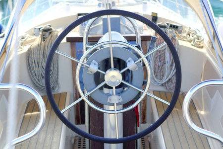 boat rudder wheel white sailboat detail beautiful yacht photo