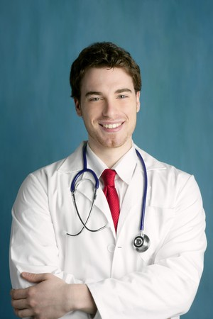 happy young male doctor man smile handsome portrait green background Stock Photo - 7515907