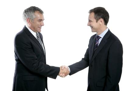 adult businessman handshake expertise portrait dark suit white background photo