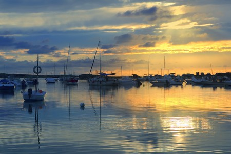 balearic: Estany des peix lake yellow blue sunset in Formentera Balearic islands