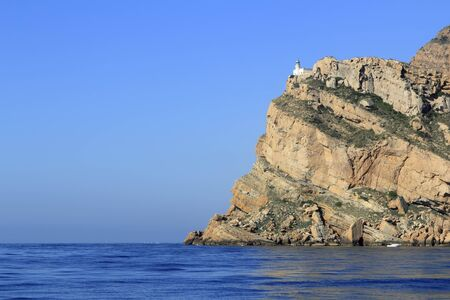 altea: Punta Albir Cape near Altea lighthouse mountain mediterranean sea Alicante Spain