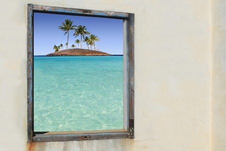 tropical palm trees turquoise paradise islands window vintage view photo