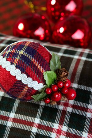 Christmas decoration fabric ball Scottish printing pattern     photo