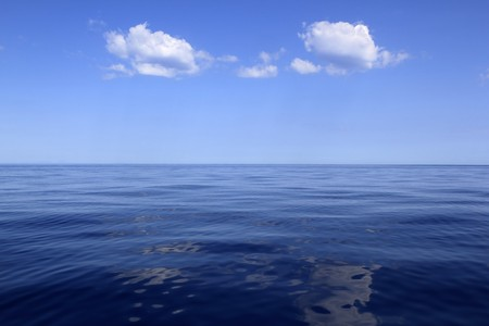 blue sea horizon ocean perfect in calm sunny day mediterranean photo