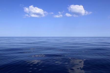 calm water: blue sea horizon ocean perfect in calm sunny day mediterranean